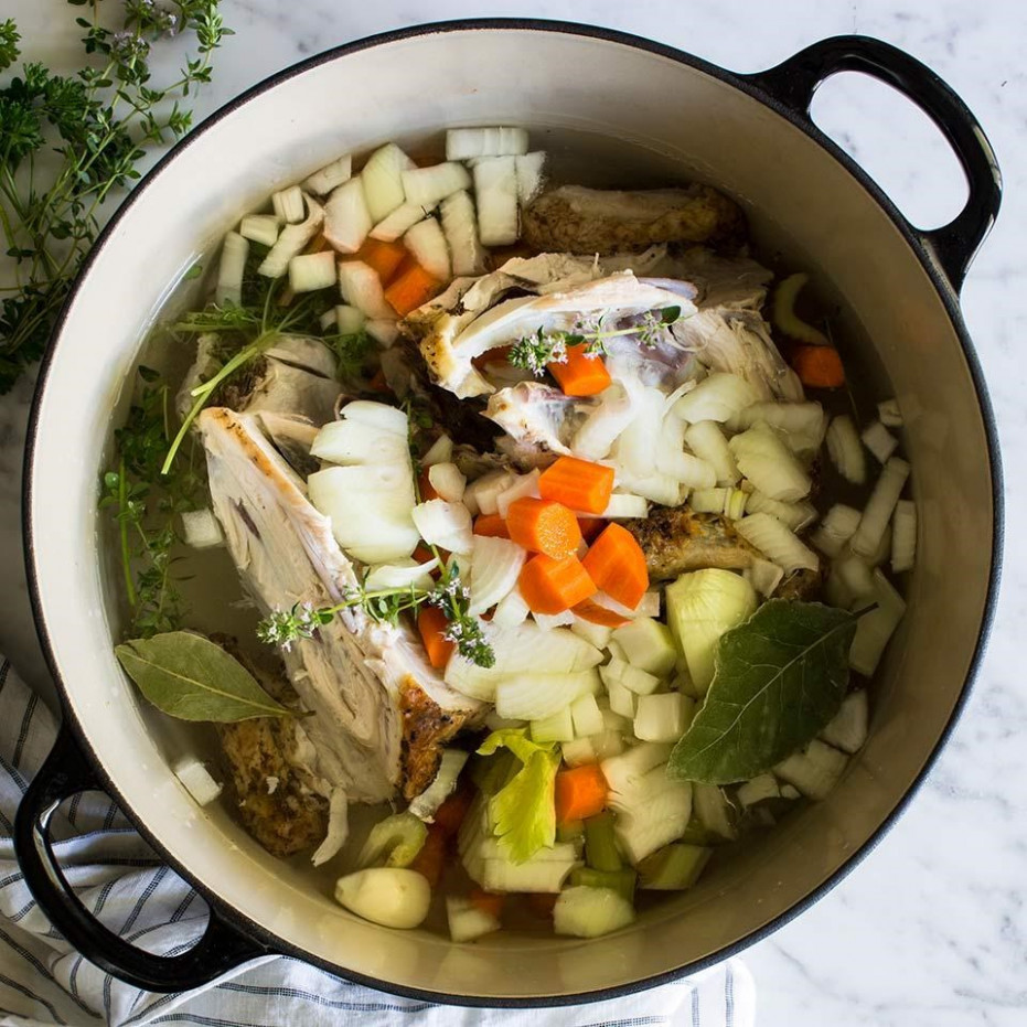 Homemade Roasted Chicken Stock Recipe - EatingWell - recipes that use chicken broth