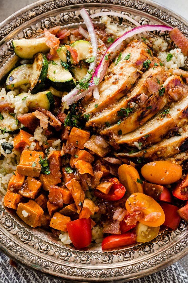 Honey Mustard Chicken with Spinach and Artichoke Rice Bowls - recipes honey mustard chicken