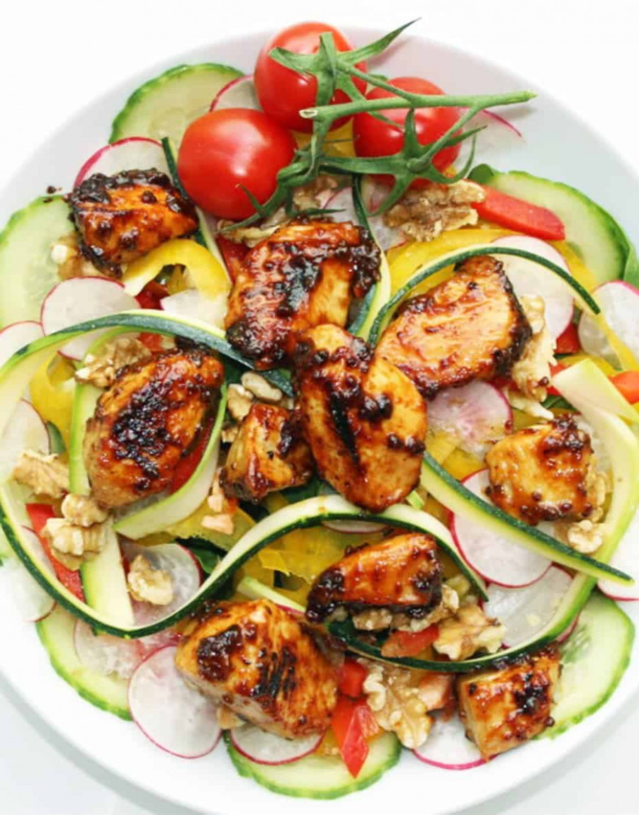 Honey & Mustard Marinated Chicken on a Raw Salad - chicken recipes honey mustard