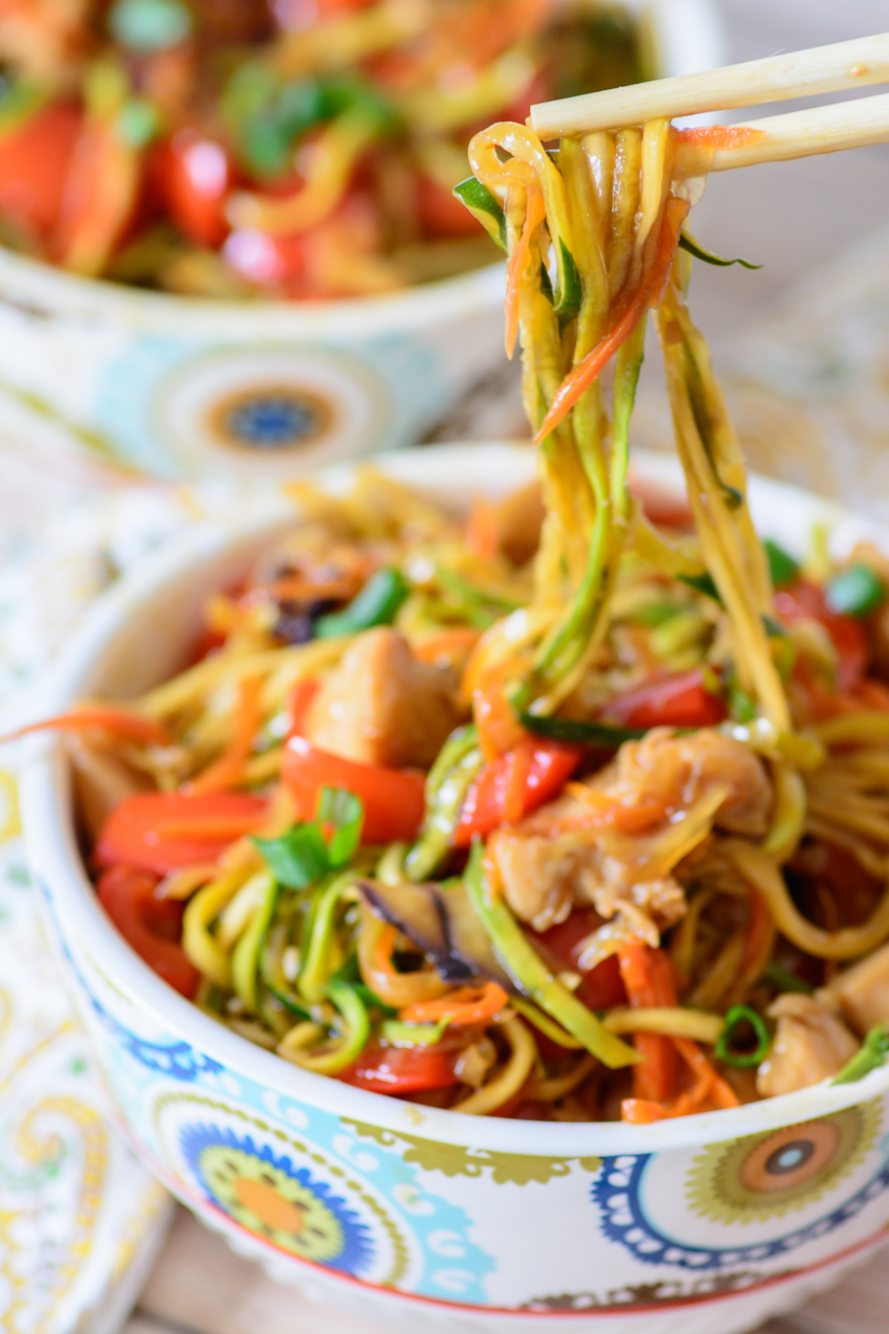 Honey Sriracha Chicken Zoodle Bowls - Almost Supermom - zoodle dinner recipes
