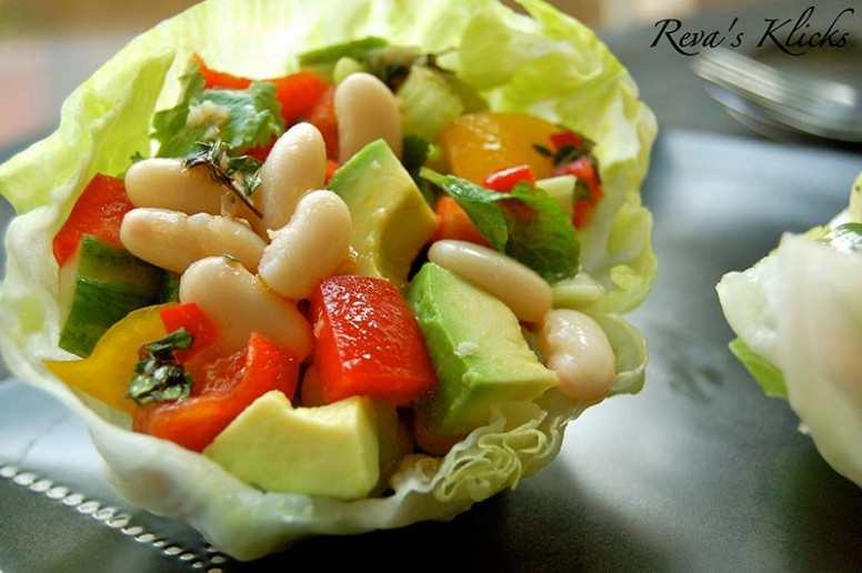 Hot and Cold Bean Salad in Lettuce Cups with Tomato Lime ..