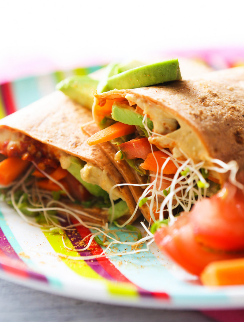 HUMMUS VEGGIE WRAP - wrap recipes vegetarian