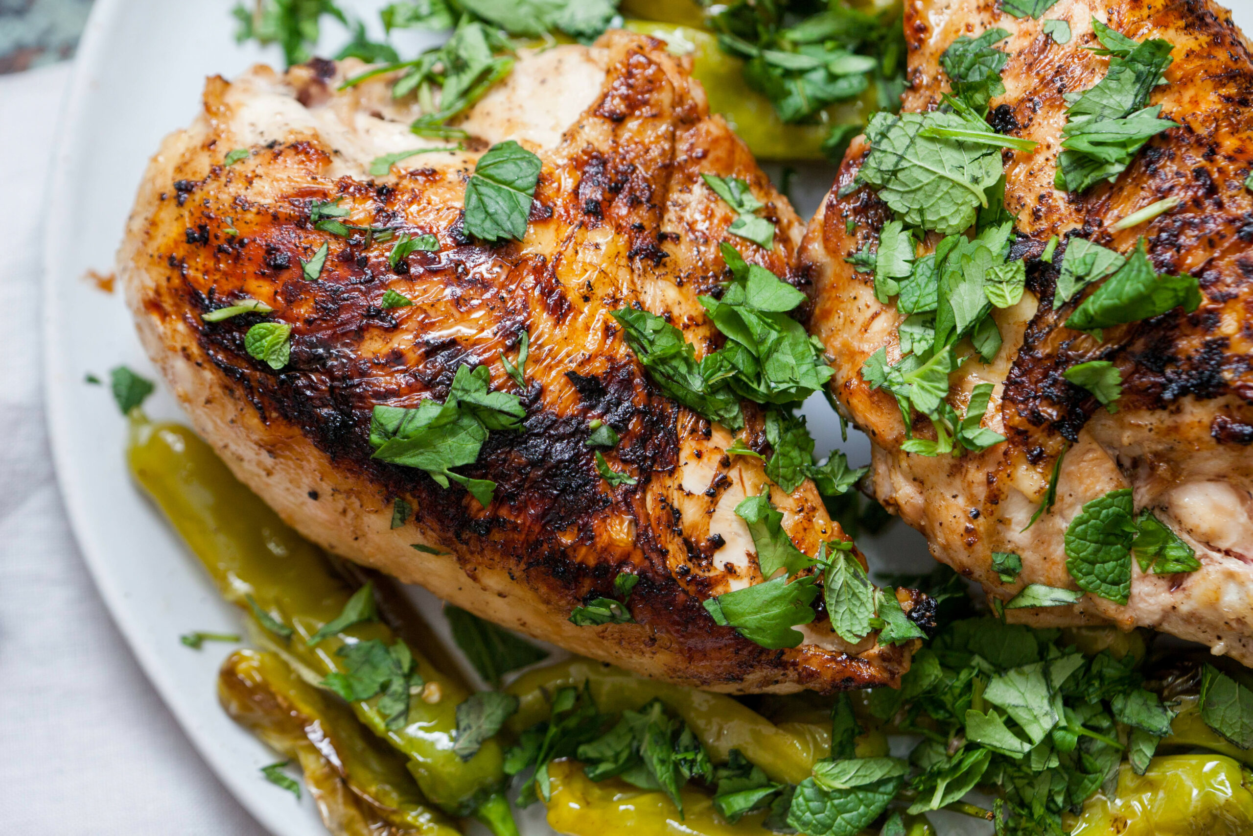 I made Split Chicken Breasts with Shishito Peppers and Herbs ..