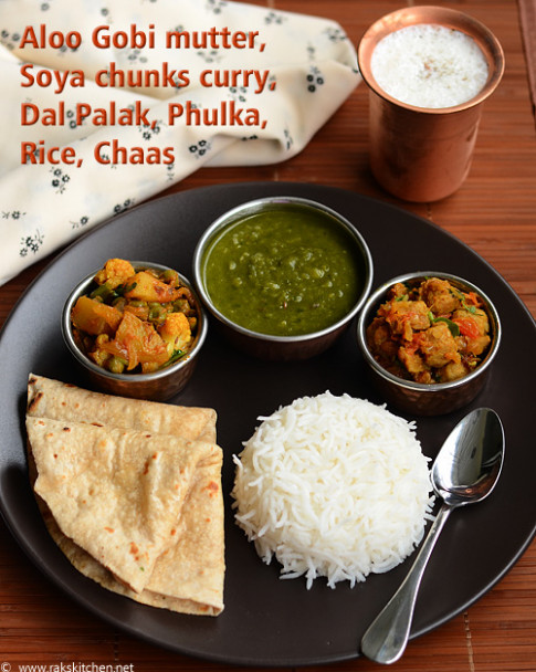 Indian Lunch Menu Ideas - Raks Kitchen - Dinner Recipes North Indian
