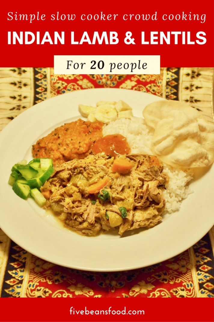 Indian style slow cooker lamb and lentils for 10 - recipes dinner indian