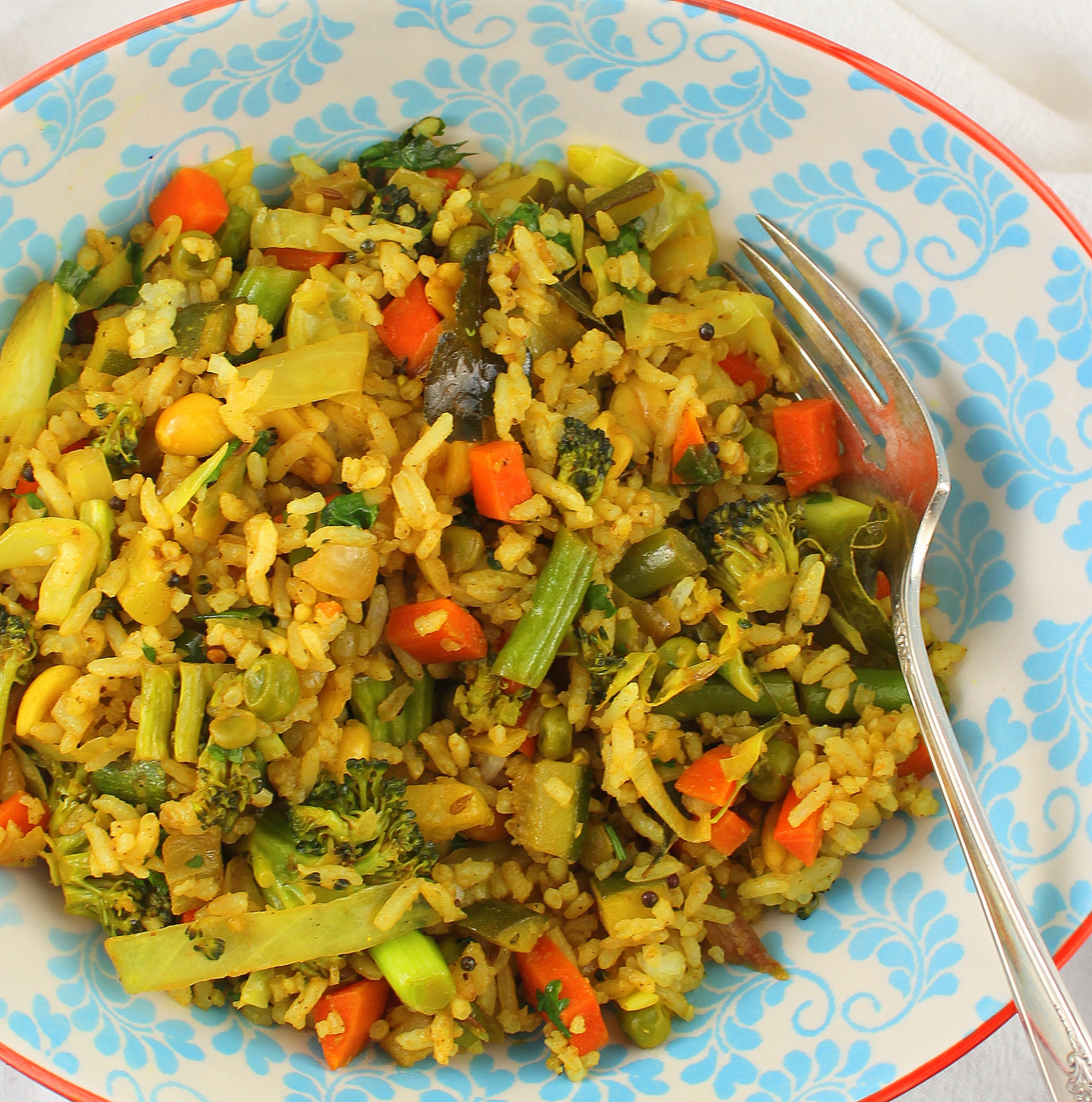 Indian Style Vegetable Fried Rice - Rice Recipes Vegetarian