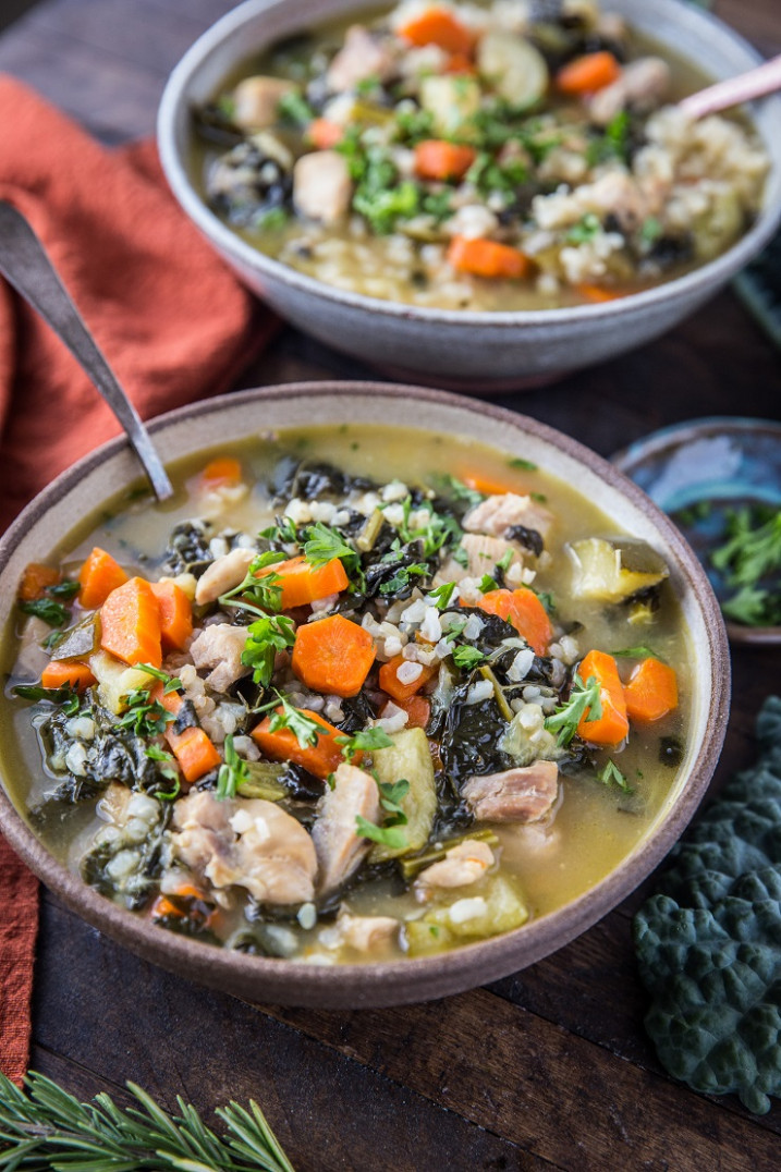 Instant Pot Chicken Soup with Rice - healthy chicken and kale recipes