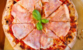 Italian Food Dinner. Pizza With Tomato Prosciutto And ..