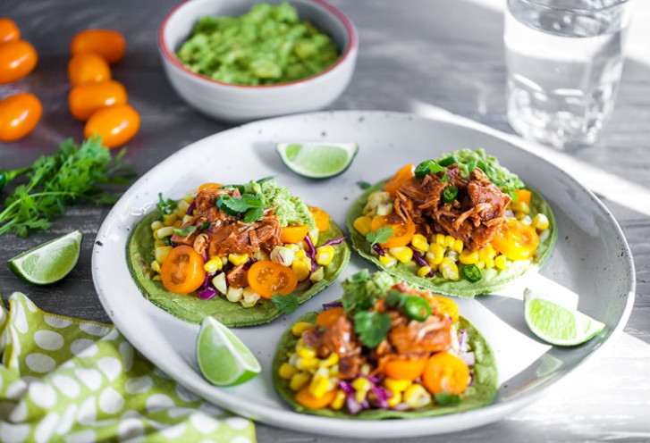 "Jackfruit ""Pulled Pork"" Taco With Corn Salsa Served On .."