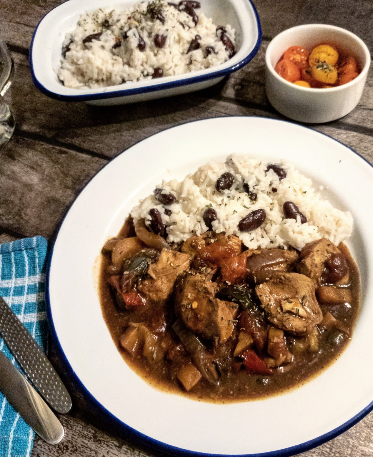 Jamaican Chicken Stew with Rice & Peas - jamaican food recipes