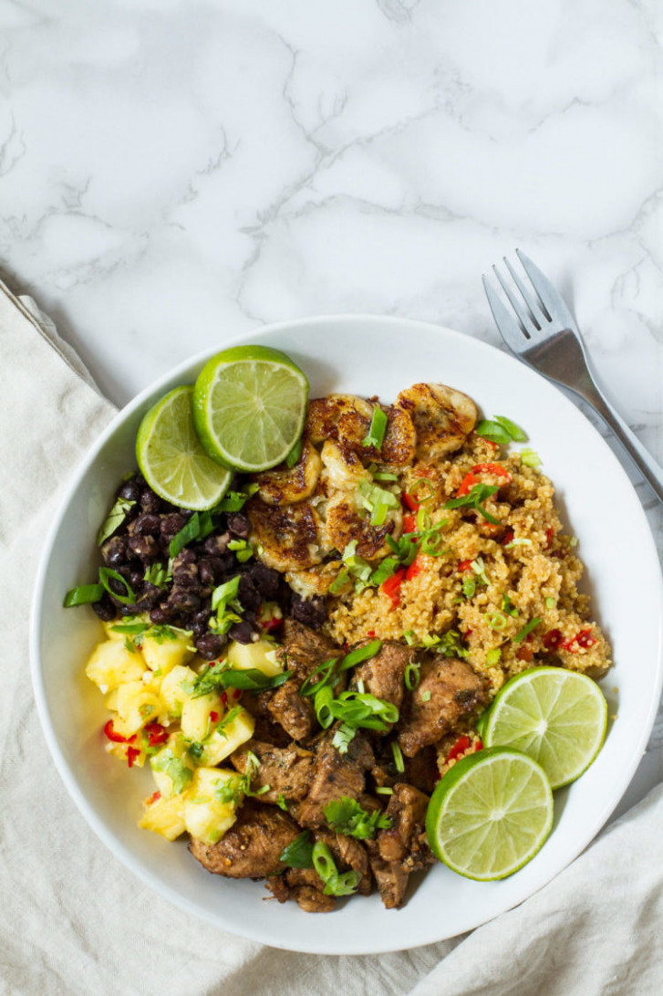 Jamaican Jerk Chicken Quinoa Bowl with Pineapple Salsa and Spicy Fried  Bananas - recipes jamaican food