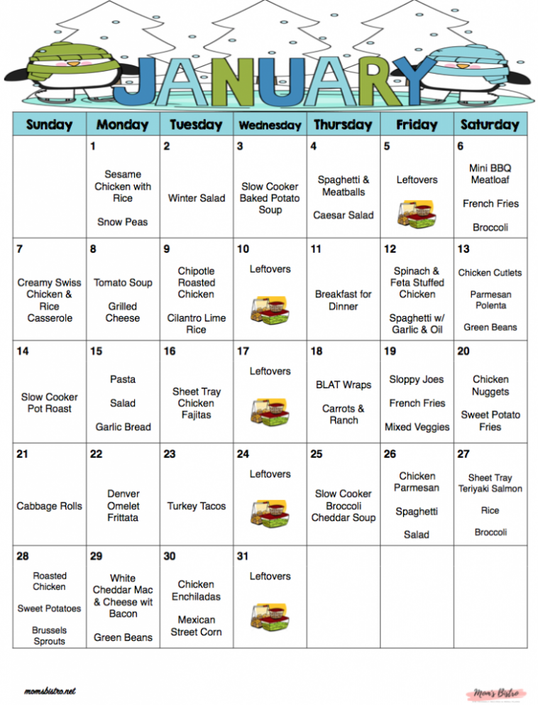 January 2018 - Free Monthly Meal Plan - Quick and Easy Kid ..