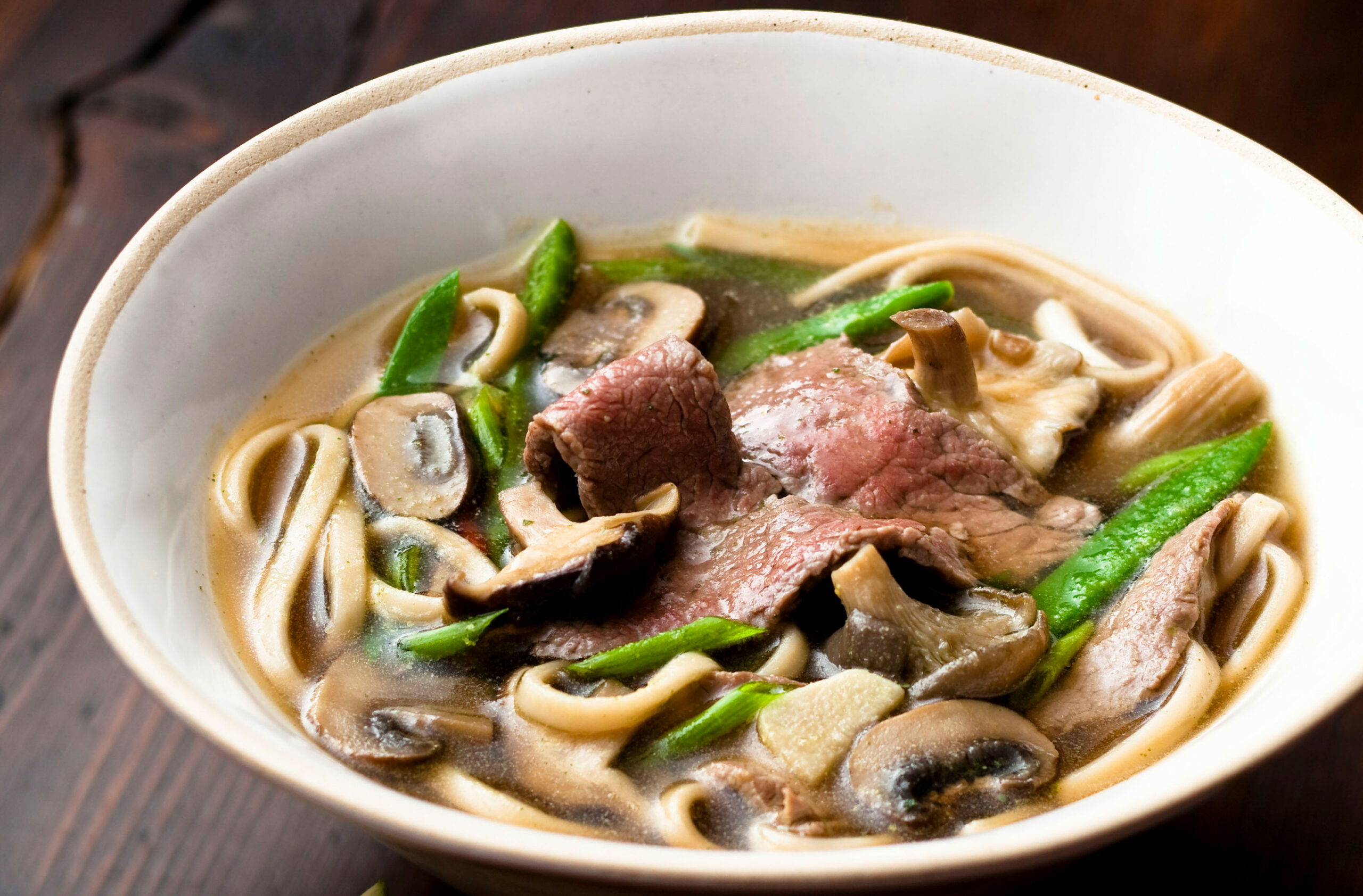 Japanese broth with udon noodles - japanese recipes dinner party