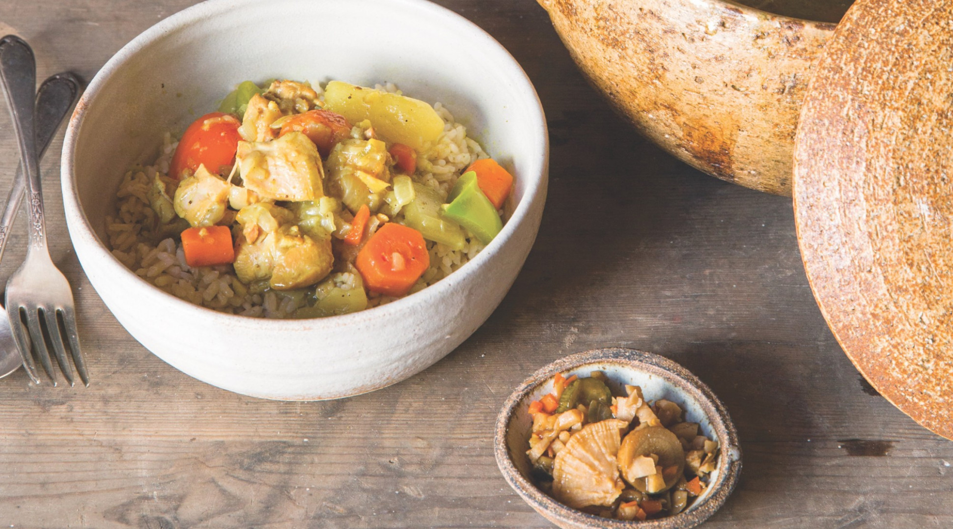 Japanese Chicken Curry with Relish of the Seven Lucky Gods - japanese recipes chicken