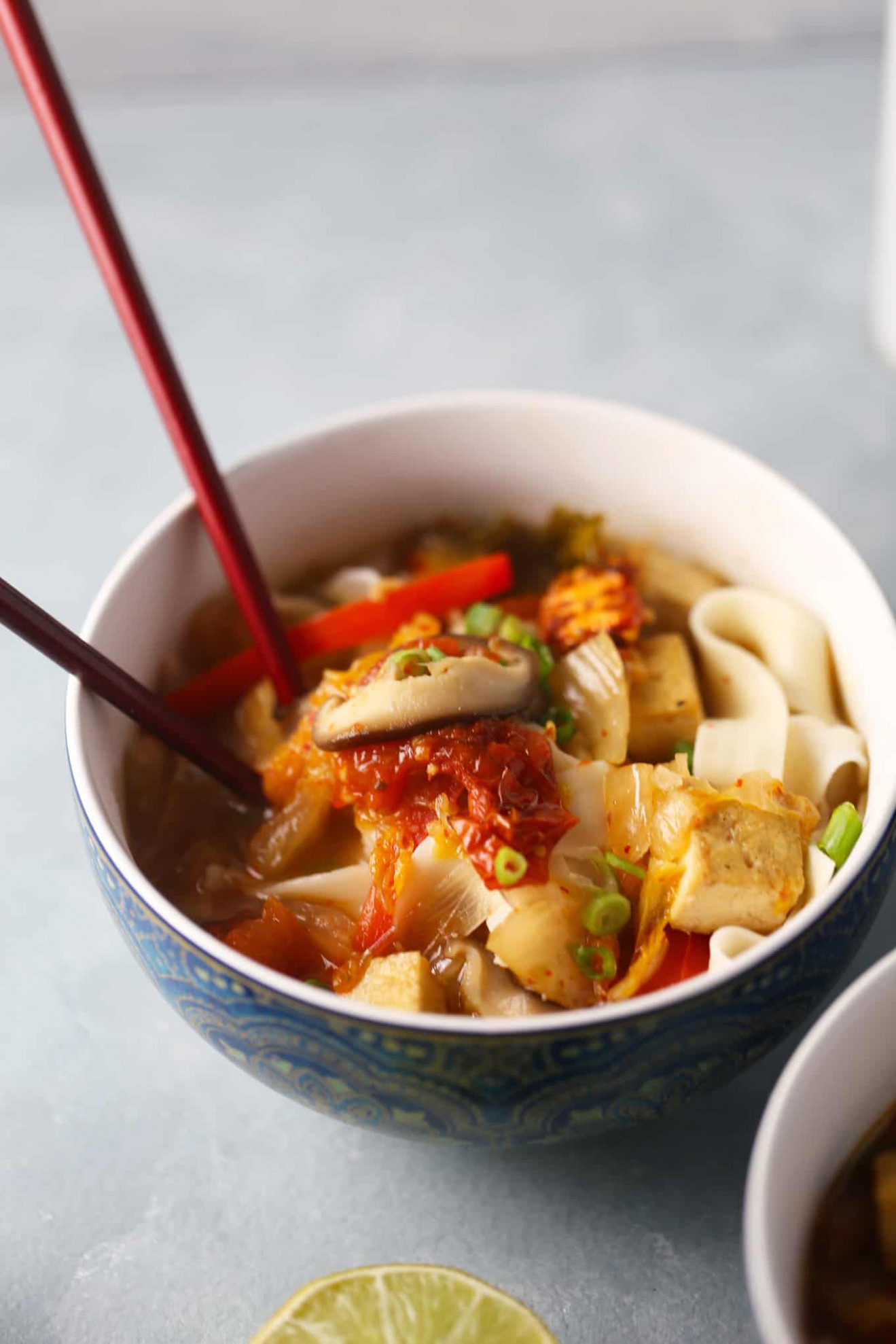 Japanese Udon Noodles with Kimchi Miso Broth - recipe vegetarian udon noodle soup