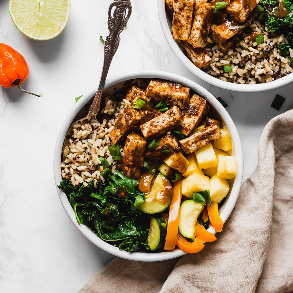 Jerk Tofu Vegetable And Rice Bowl - Recipes With Tofu Healthy