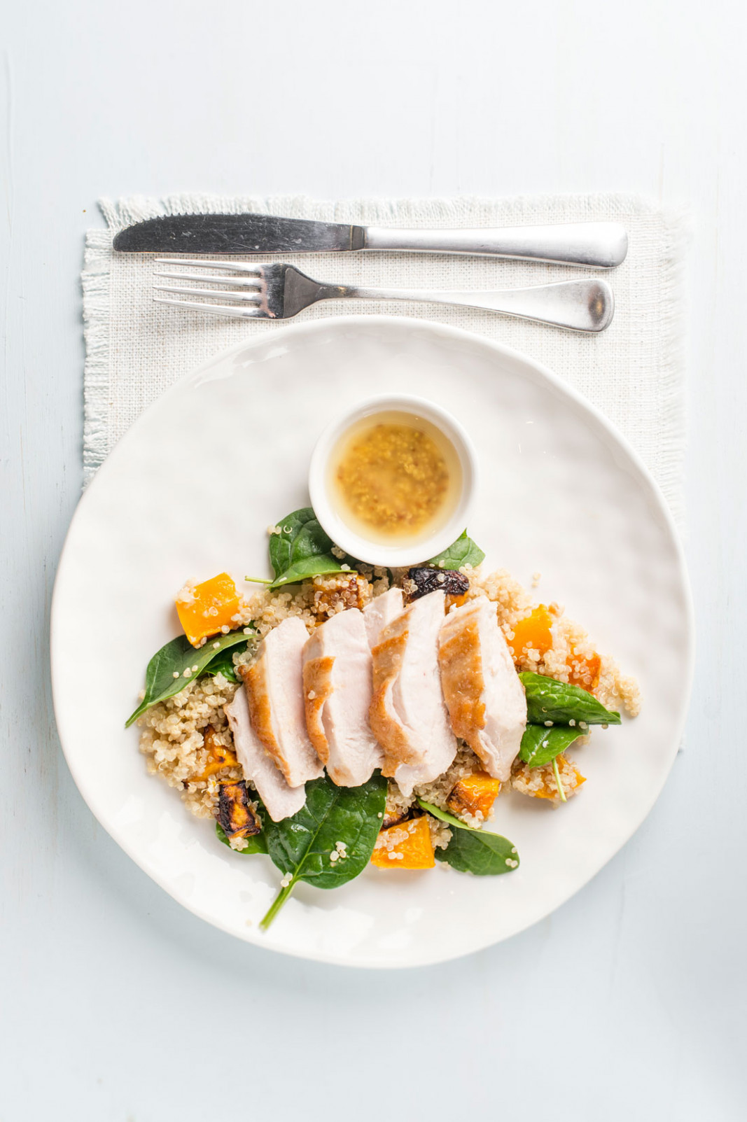 Juicy chicken breast with roast pumpkin, quinoa and spinach salad - food recipes with chicken breast