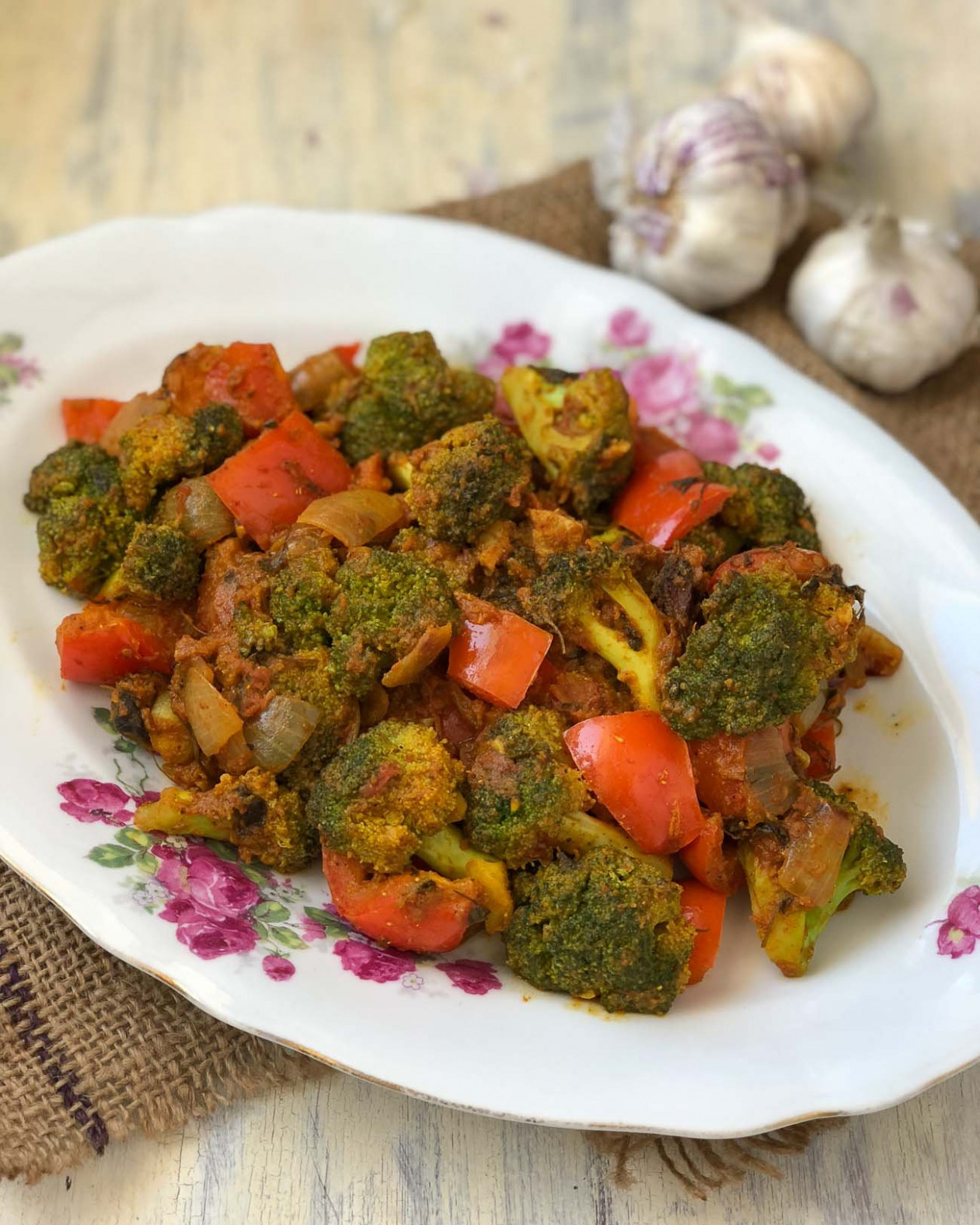 Kadai Broccoli Masala Recipe - Broccoli Cooked With Indian Spices - Quick Lunch Recipes Indian Vegetarian