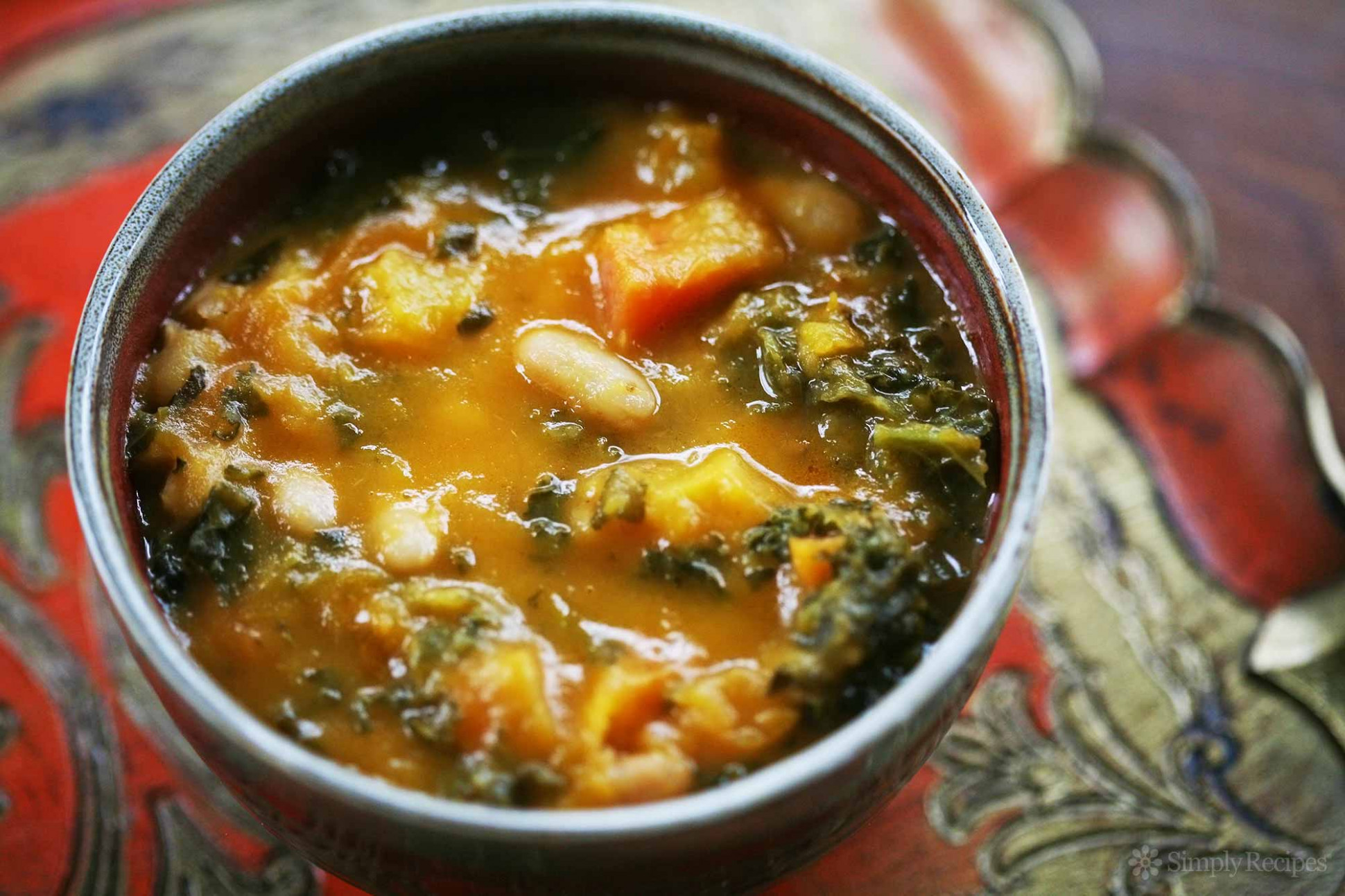 Kale And Roasted Vegetable Soup Recipe | SimplyRecipes
