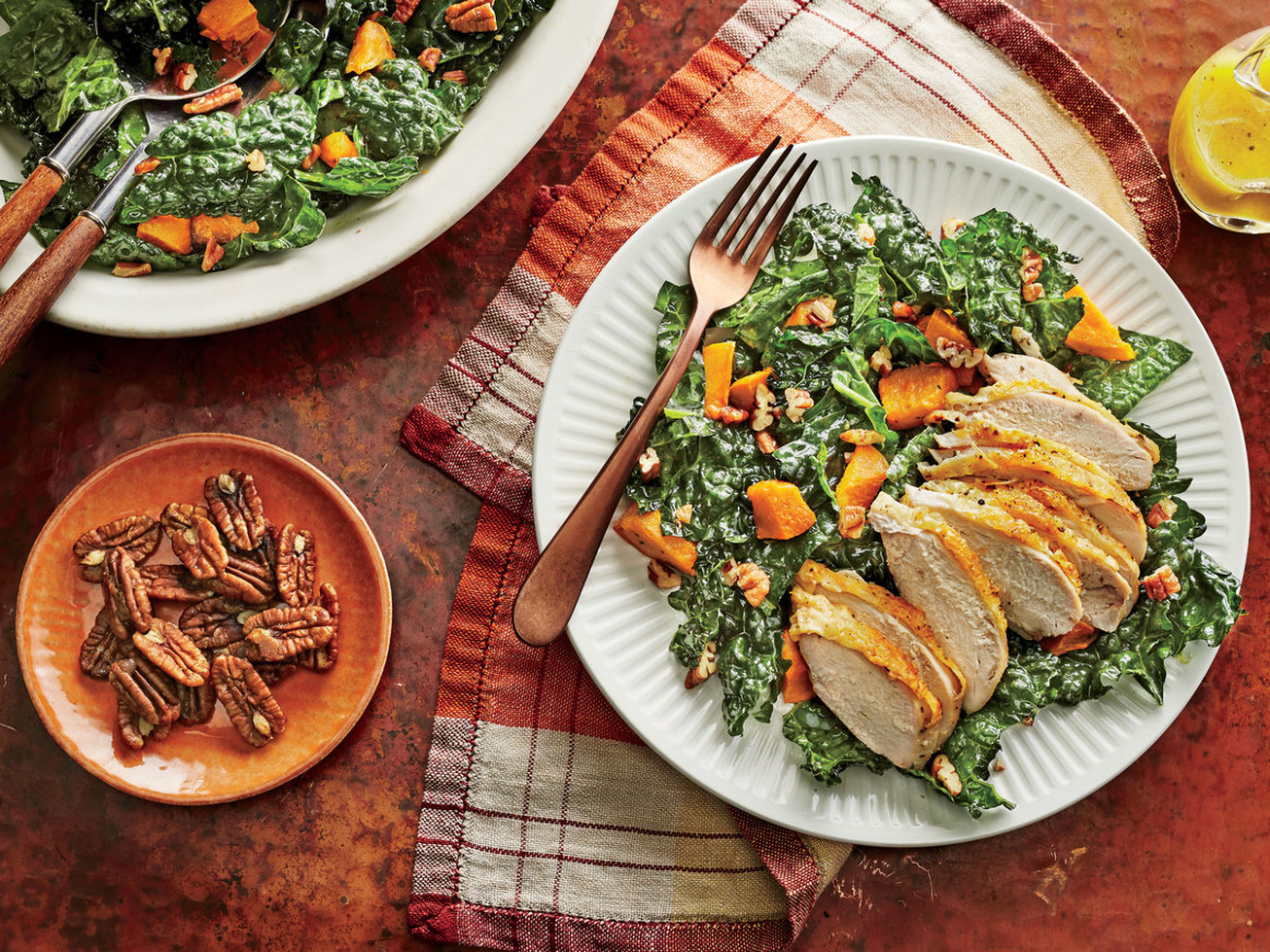 Kale and Sweet Potato Salad with Chicken Recipe - healthy chicken and kale recipes