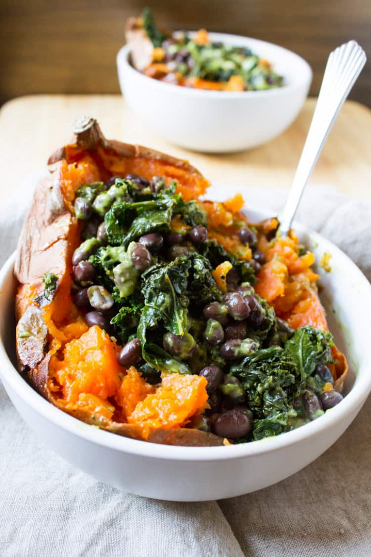 Kara Lydon | Vegan Loaded Sweet Potato - The Foodie Dietitian - potato recipes vegetarian