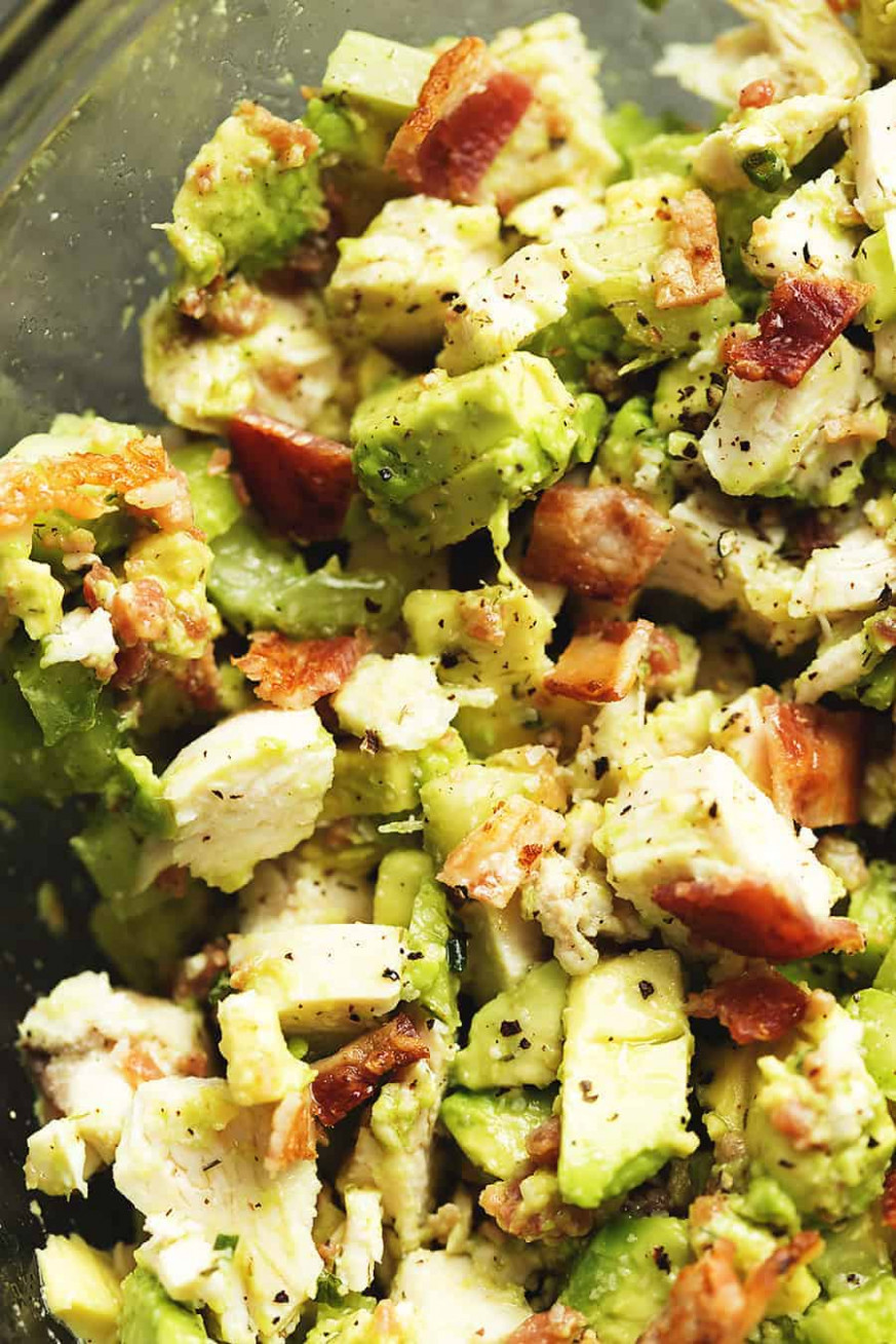 Keto Chicken Salad with Avocado and Bacon • Low Carb with ..