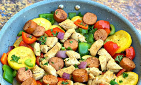 Keto Low Carb Cajun Chicken, Sausage, And Vegetable Skillet – Chicken Recipes Zucchini Squash