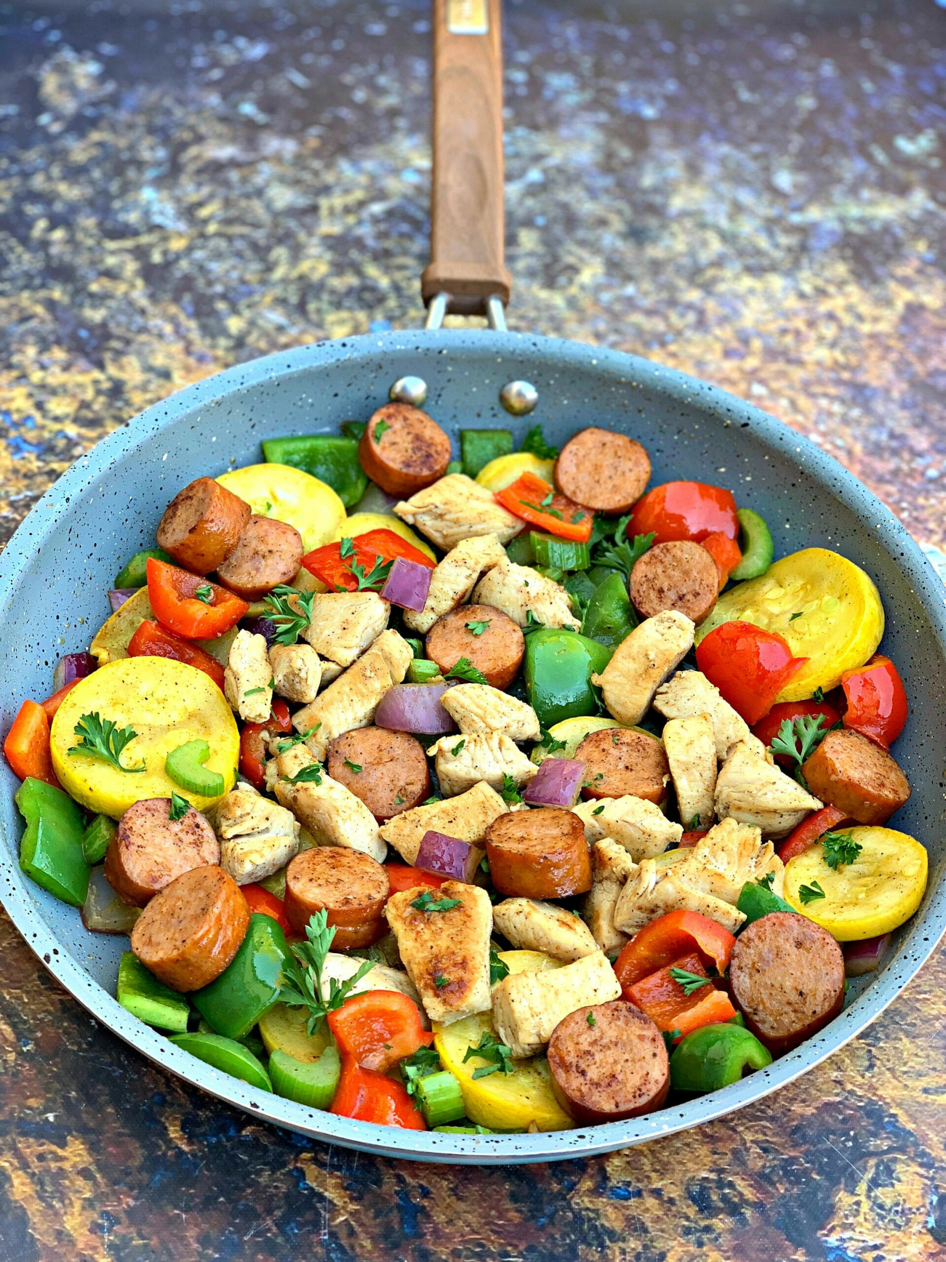 Keto Low-Carb Cajun Chicken, Sausage, and Vegetable Skillet - chicken recipes zucchini squash