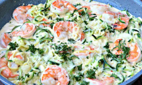 Keto Low Carb Creamy Garlic Shrimp Alfredo Zucchini Noodles (Zoodles) – Dinner Recipes Zucchini