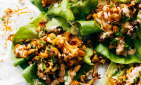 Korean BBQ Style Cauliflower Lettuce Wraps Recipe - Pinch of Yum
