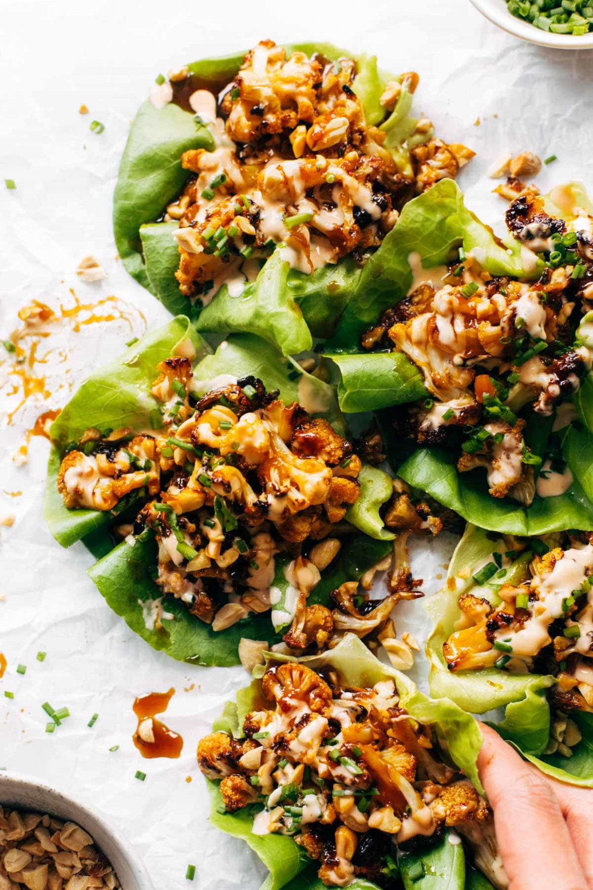 Korean BBQ Style Cauliflower Lettuce Wraps Recipe - Pinch of Yum - recipes korean food