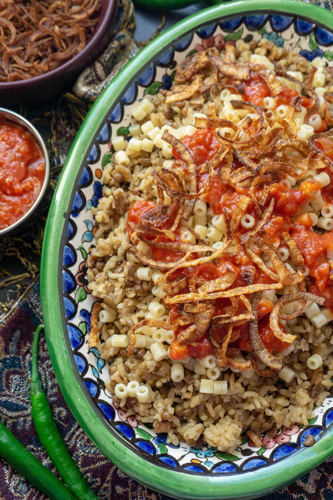 Kushari - Egyptian Rice, Lentils, and Pasta With Spicy Tomato Sauce - egyptian food recipes