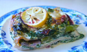 Lasagne with Layers of Beetroot and Asparagus, with Creamy Spinach, Lemon and Goats Cheese