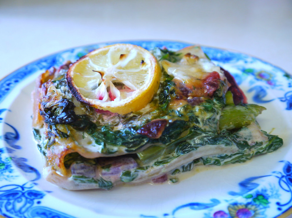 Lasagne with Layers of Beetroot and Asparagus, with Creamy Spinach, Lemon and Goats Cheese - recipes vegetarian lasagne