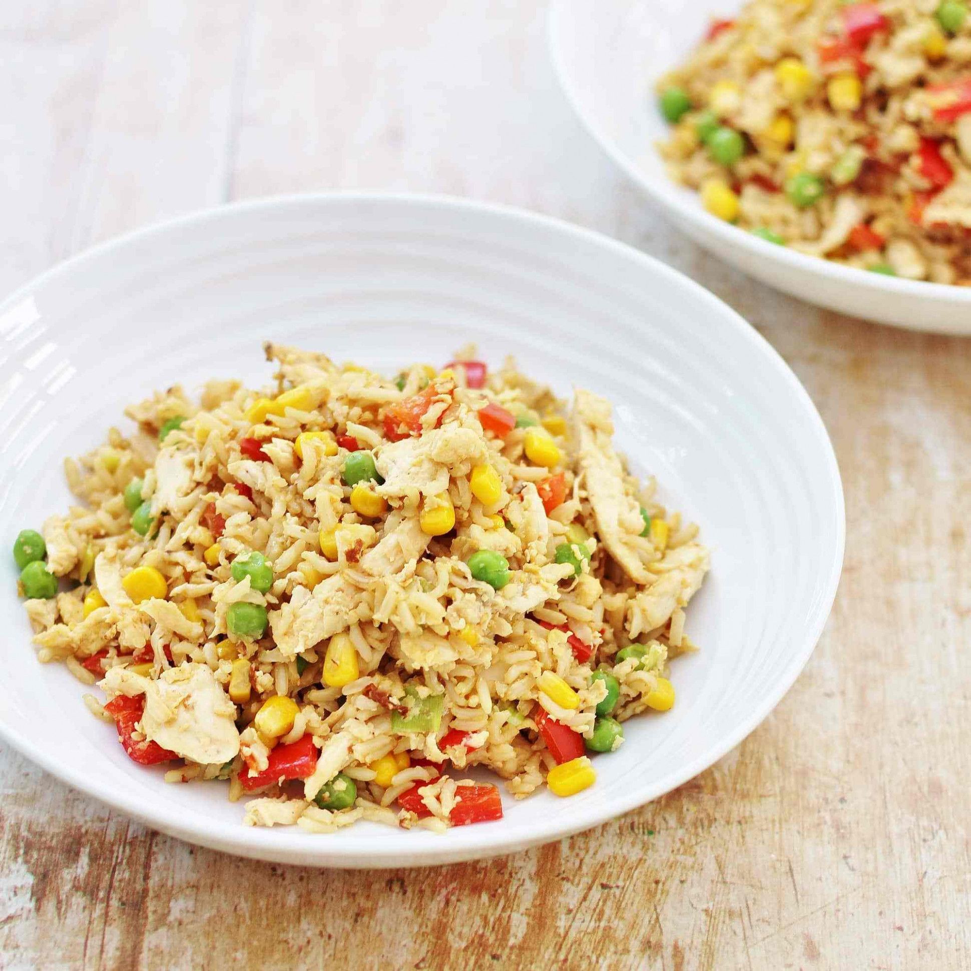 Leftover Chicken and Egg Fried Rice - uncle ben rice recipes chicken