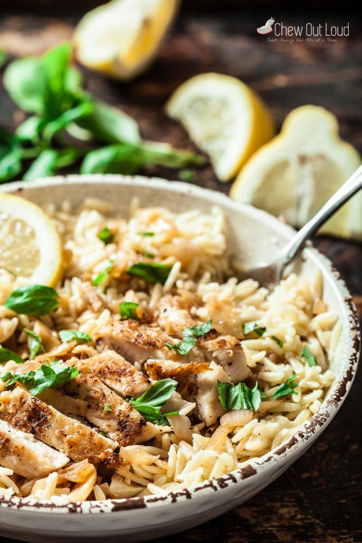 Lemon Basil Orzo with Chicken - recipes summer dinner