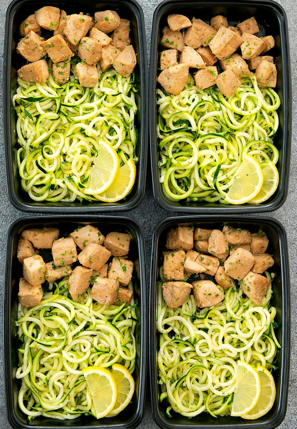 Lemon Garlic Chicken with Zucchini Noodles Meal Prep - chicken zucchini recipes low carb