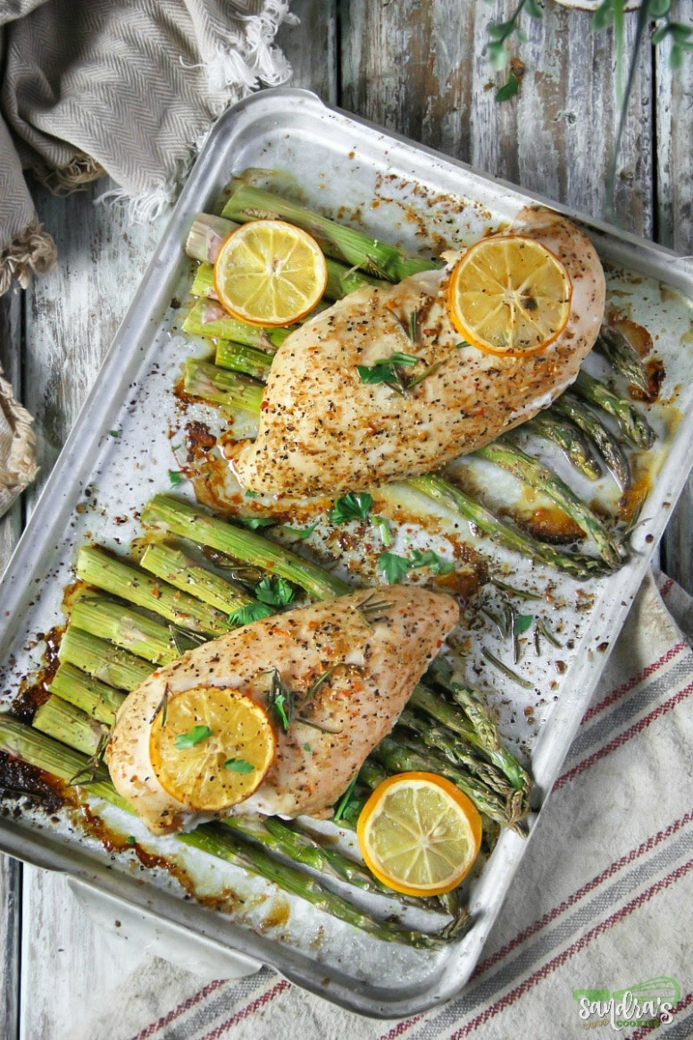 Lemon-Herbs Chicken with Asparagus Sheet Dinner - lemon recipes dinner