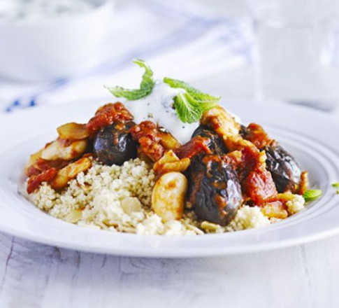 Lemon & Mint Aubergine Tagine With Almond Couscous Recipe ..