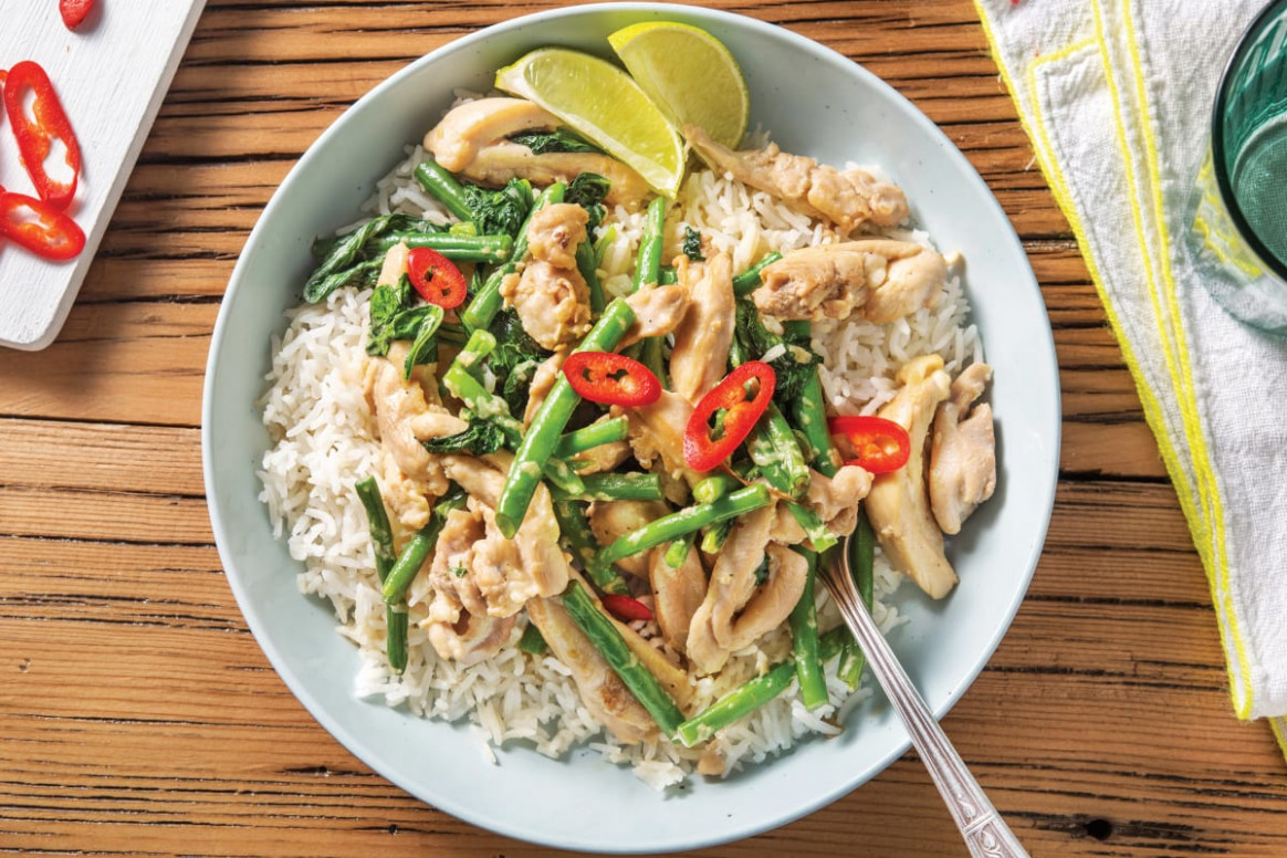 Lemongrass & Coconut Chicken with Greens & Lime-Infused Rice - thai recipes chicken