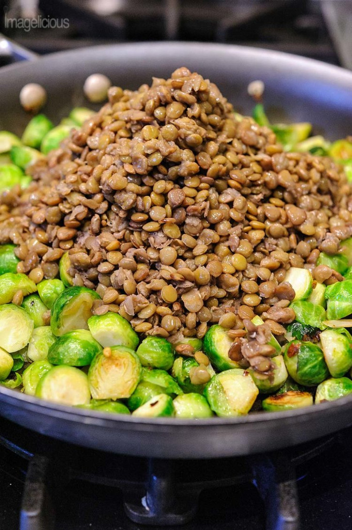 Lentils and Brussels Sprouts Skillet - healthy recipes lentils