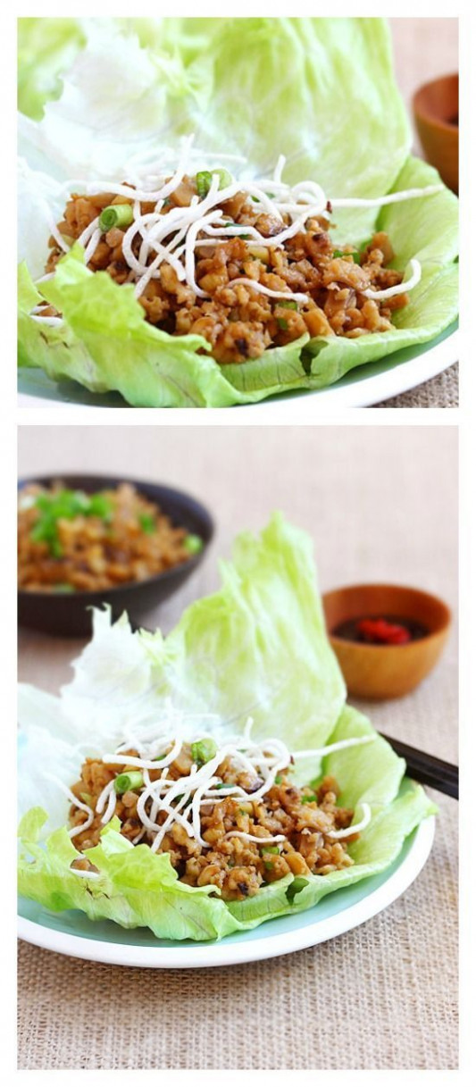 Lettuce wraps with chicken and mushroom. Easy lettuce ..