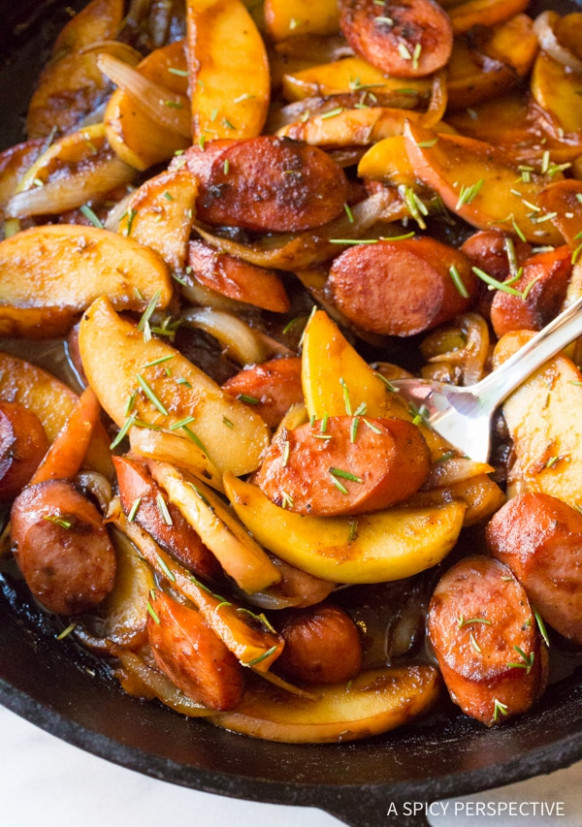 Light Kielbasa Apple Onion Skillet - A Spicy Perspective - healthy kielbasa recipes