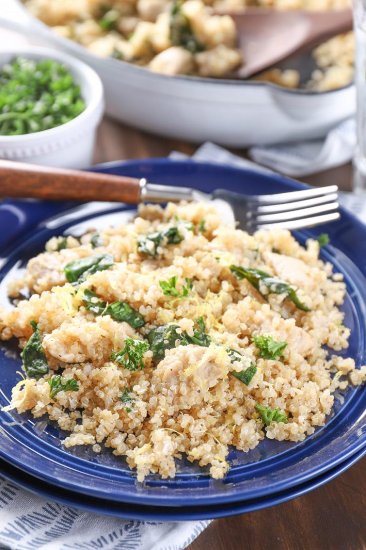 Lightened Up Lemon Parmesan Chicken Quinoa Skillet - recipes quinoa chicken
