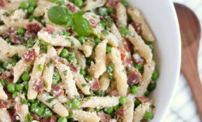 Lightened Up Pasta With Peas And Bacon – Two Healthy Kitchens – Healthy Recipes Pasta