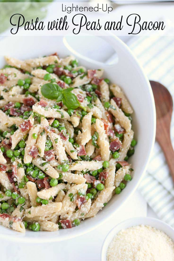 Lightened-Up Pasta with Peas and Bacon - Two Healthy Kitchens - healthy recipes pasta