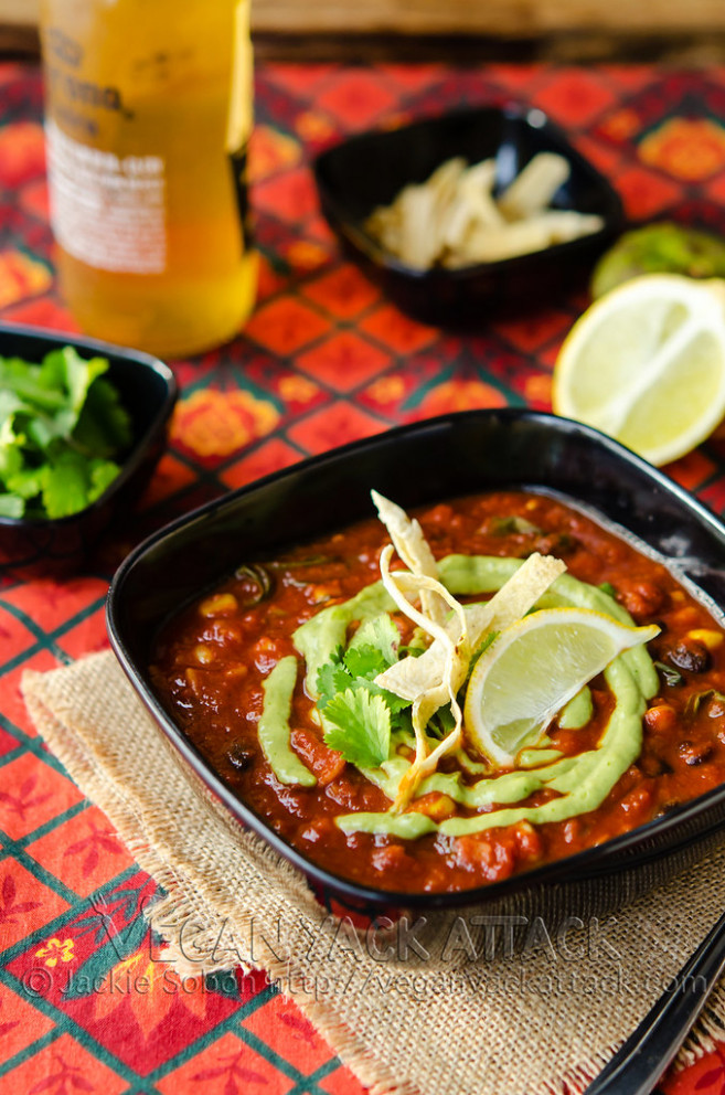 Loaded Enchilada Soup with Creamy Tomatillo Sauce - recipes vegetarian enchiladas