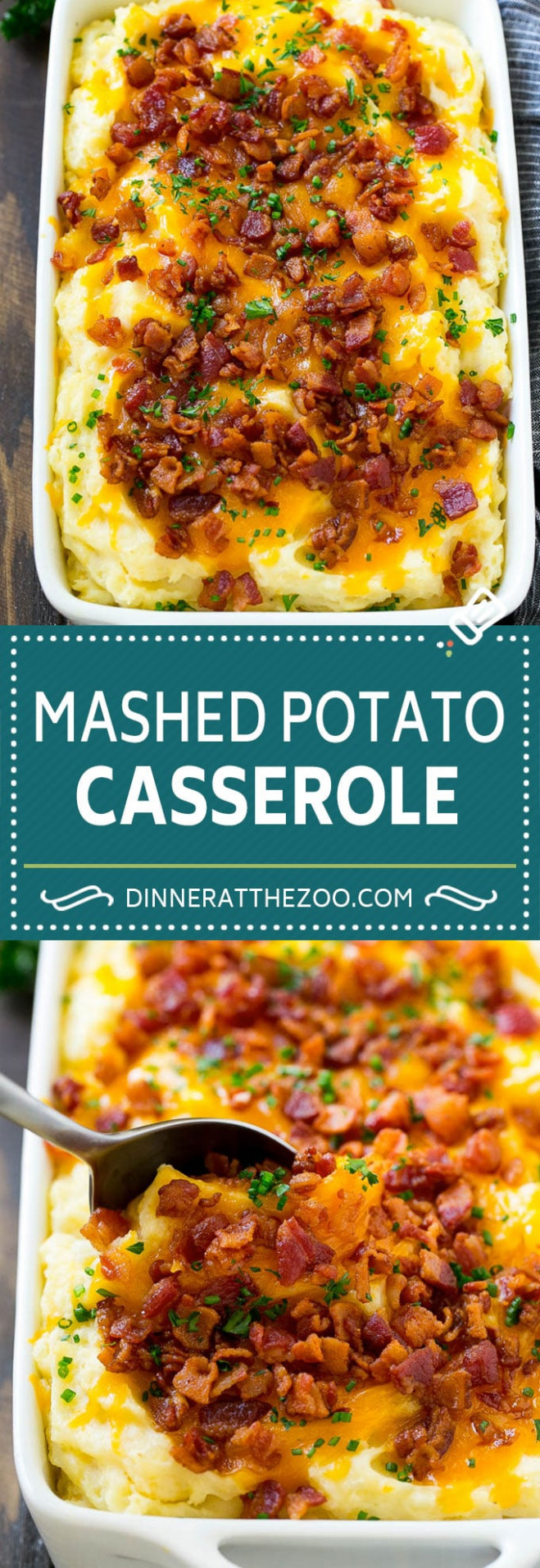 Loaded Mashed Potato Casserole - Dinner At The Zoo - Potato Recipes Dinner
