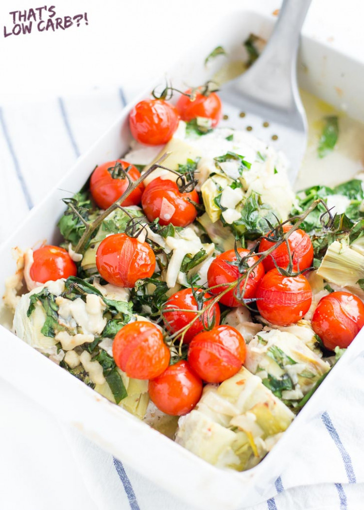 Low Carb Chicken Meal with Spinach, Goat Cheese and Roasted Tomatoes - dinner recipes that are low carb