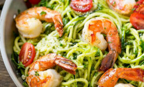 Low Carb Pesto Shrimp Zoodles | Healthy Fitness Meals – Healthy Zoodle Recipes